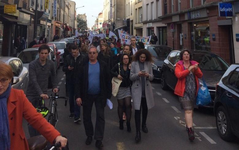 A l'appel du SNUDI-FO du SNUipp et de la CGT, plus 300 manifestants à Villejuif le 6 avril pour l'annulation des fermetures de classes